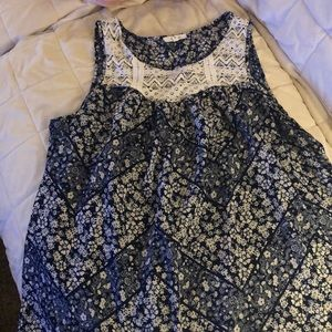 Maurice's size XL blue and cream tank top blouse